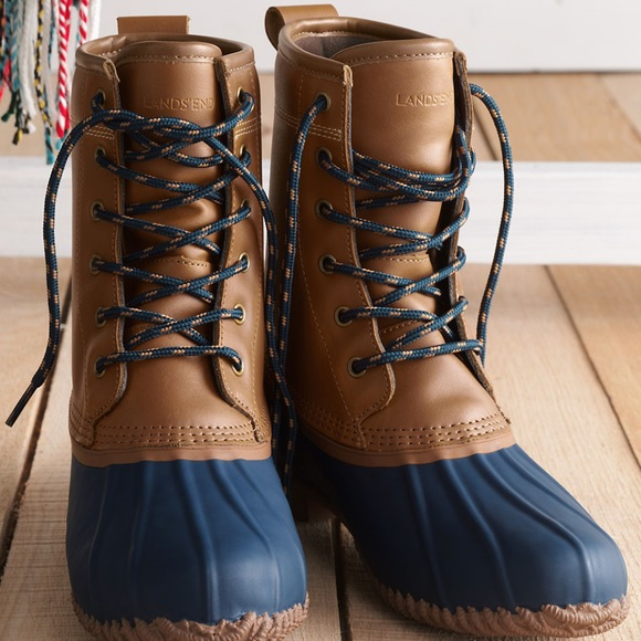 f9d50923a5929 New Lands End Women's Lined Duck Boots Size 7.5 NWT
